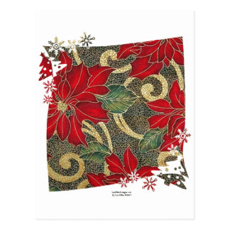 Gold Red Poinsettias Holiday Gifts & Collectibles Postcard