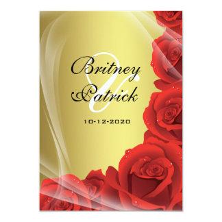 Gold & Red Rose Wedding Invitations