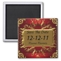 Gold Red Save the Date Create Your Own Magnet
