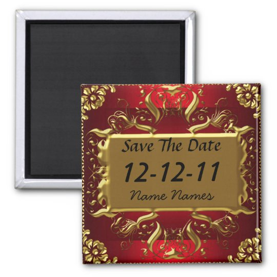 gold red save the date create your own magnet zazzle com