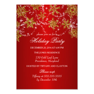 Gold & Red Snowflake Christmas Holiday Party Card
