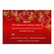 Gold & Red Snowflake Christmas Holiday RSVP Invitation