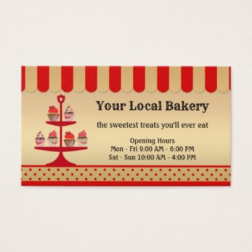 Professional Business Gold Red Sweet Cupcakes Bakery Business Card