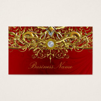 Gold & Red Swirl Abstract Business Card