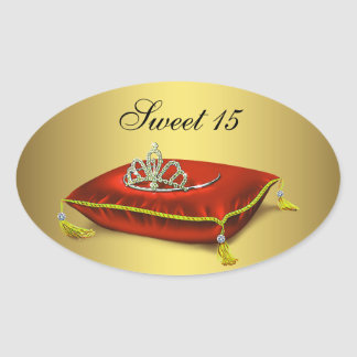 Gold Red Tiara Party Favor Label Envelope Seal Oval Stickers