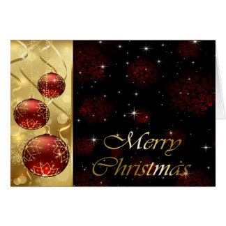 Gold & Red Twinkling Christmas Ornaments Greeting Card