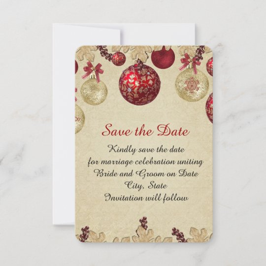 gold red winter holiday ornaments save the date zazzle com