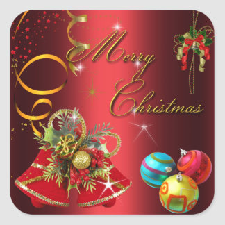 Gold Red Xmas Party Square Sticker