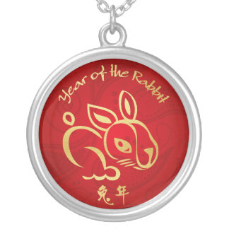 Gold / Red Year of the Rabbit - Chinese New Year Round Pendant Necklace