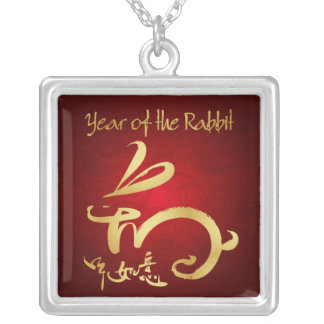 Gold / Red Year of the Rabbit - Chinese New Year Square Pendant Necklace