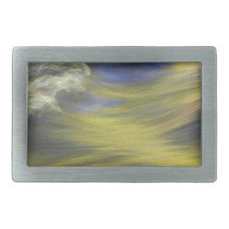 Gold Reflections on Blue Water Rectangular Belt Buckle