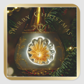 Gold Reflector Christmas Ornament Square Stickers