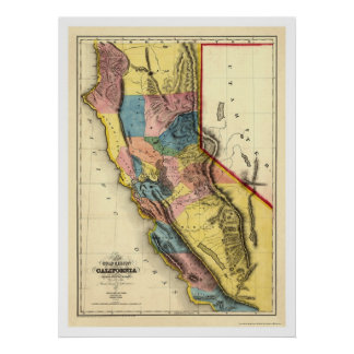 Gold Regions of California Map by Gibbes 1851 Poster