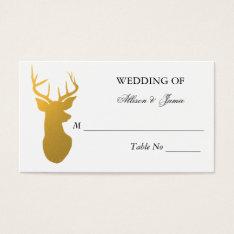 Gold Reindeer Antler Modern Wedding Table Number Business Card at Zazzle