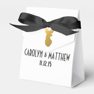 Gold Reindeer Antler Wedding Favor Box