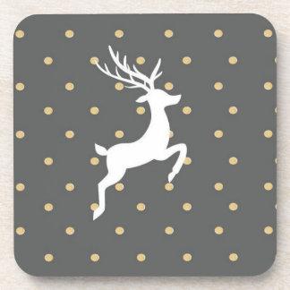 Gold Reindeer Christmas Polka Dot Coaster