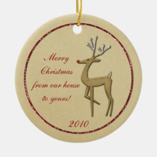 Gold Reindeer From Our House To Yours Ornament