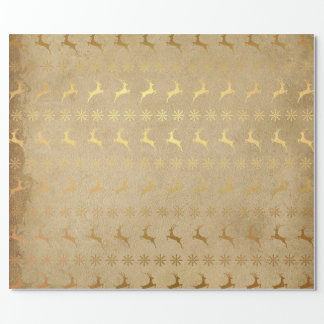 Gold Reindeer & Snowflakes Gift Wrap Paper