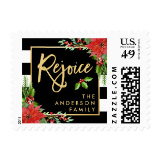 Gold Rejoice Script Christmas Poinsettia Floral Postage at Zazzle