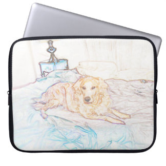 Gold Retriever on Bed in Colored Pencil Computer Sleeve