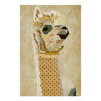 Gold Retro Alpaca Art Poster