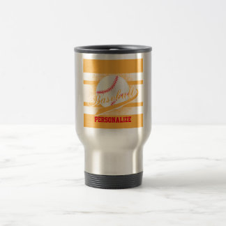 Gold Retro Baseball Style Travel Mug