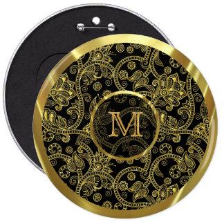 Gold Retro Floral Swirls-Custom Monogram Pinback Buttons