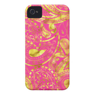 Gold Retro Paisley swirl pattern Case-Mate iPhone 4 Case