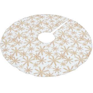 Gold Retro Snowflake Pattern Brushed Polyester Tree Skirt