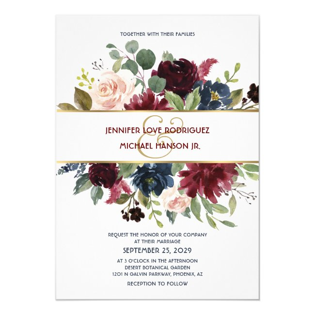 Gold Rhapsody Floral Chic Boho Wedding Invitation