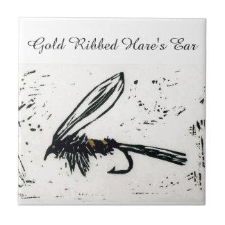 """""""Gold Ribbed Hare's Ear"""" wet fly tile. Tile"""