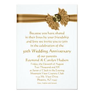 Gold Ribbon 50th Anniversary Party Invitations