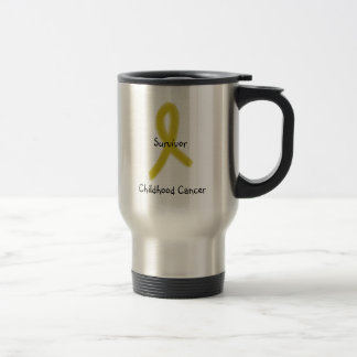 GOLD RIBBON 9-4-09, Survivor, Childhood Cancer Travel Mug