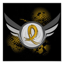 Gold Ribbon And Wings Childhood Cancer Poster