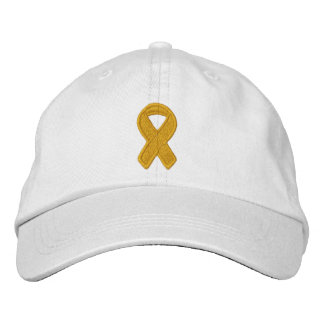 Gold Ribbon Awareness Embroidered Hat
