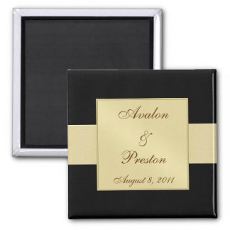 Gold Ribbon Black Save The Date Magnet