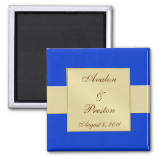 Gold Ribbon Blue Save The Date Magnet