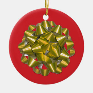 Gold Ribbon Bow on Red Holiday Tree Ornament