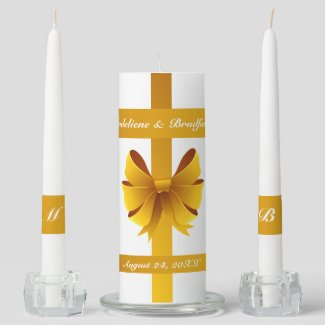 Gold Ribbon Bow Wedding Unity Candle Set