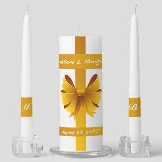 Gold Ribbon Bow Wedding Unity Candle Set