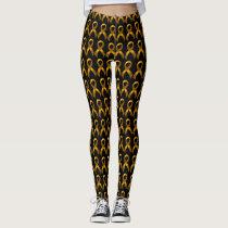 Gold Ribbon Childhood Cancer Awareness Leggings
