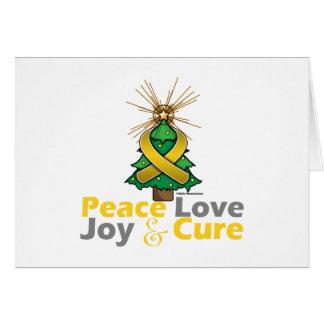 Gold Ribbon Christmas Peace Love, Joy & Cure Greeting Card