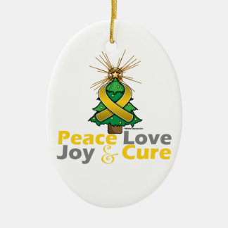Gold Ribbon Christmas Peace Love, Joy & Cure Double-Sided Oval Ceramic Christmas Ornament