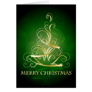 Gold Ribbon Christmas Tree Card