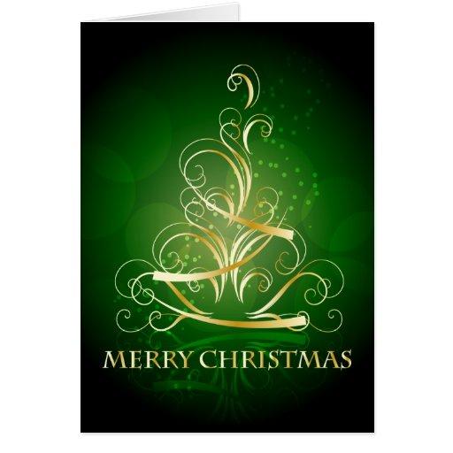 Gold Ribbon Christmas Tree Card