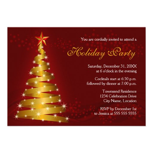 Gold Ribbon Christmas Tree Holiday Party Personalized Announcements
