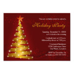 Gold Ribbon Christmas Tree Holiday Party 5x7 Paper Invitation Card