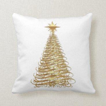 Christmas Themed Gold ribbon christmas tree throw pillow