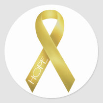 Gold Ribbon Classic Round Sticker