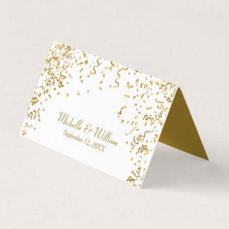 gold ribbon confetti place card